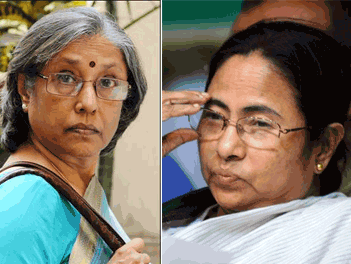 Meera Pande(left),chief of the State Election in West Bengal(a state in India) and Mamta Banerjee(right),chief minister in charge of West Bengal and chief of trinamul congress(a political party).