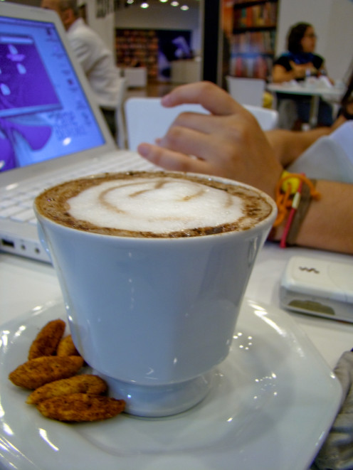 Enjoy a cappuccino and today's online class in comfort