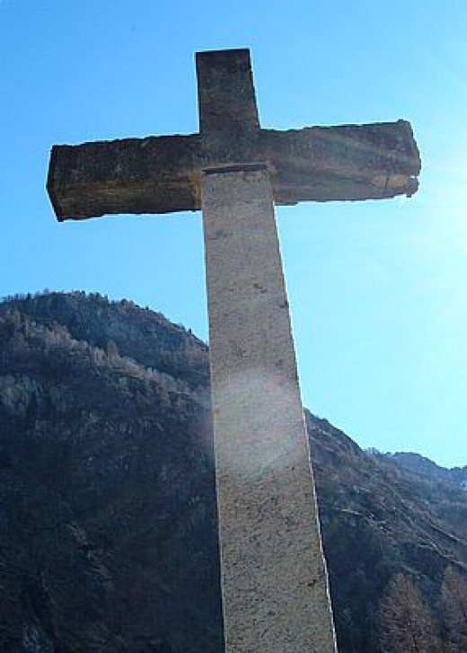 This cross is made of concrete. It is a perfect symbol of the concrete hardline views of the Christian homeless shelter.