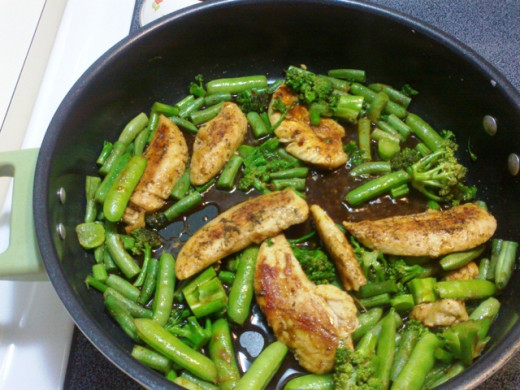 This is how they should look. Show in this dish are fresh grean beans from the garden with a little fresh broccoli. These flavors marry well with the chicken.