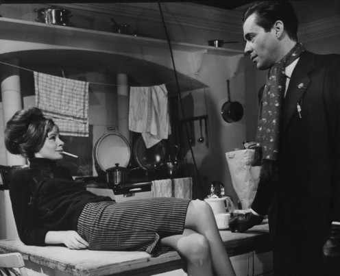 "Sarah Miles with co-star Dirk Bogarde in ""The Servant"", 1963"