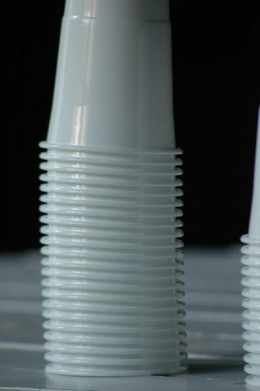 Pile of disposable plastic cups