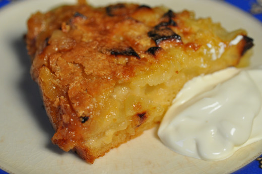 Slice of Warm Apple Cake Dessert with Creme Fraiche. Image: © Siu Ling Hui