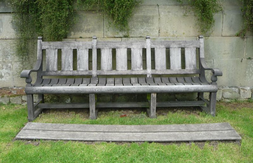 Antique teak bench at Harewood Castle