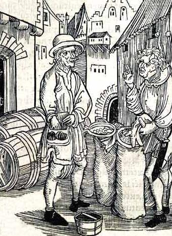 "Woodcut ""Of Usury"" attributed to Albrecht Durer. Depicts a moneylender from  Brant's Stultifera Navis."