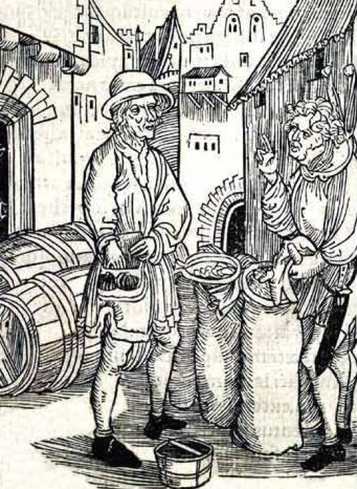 """Woodcut """"Of Usury"""" attributed to Albrecht Durer. Depicts a moneylender from  Brant's Stultifera Navis."""