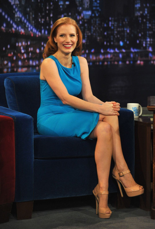 Jessica Chastain on late night talk in a blue dress and nude heels.