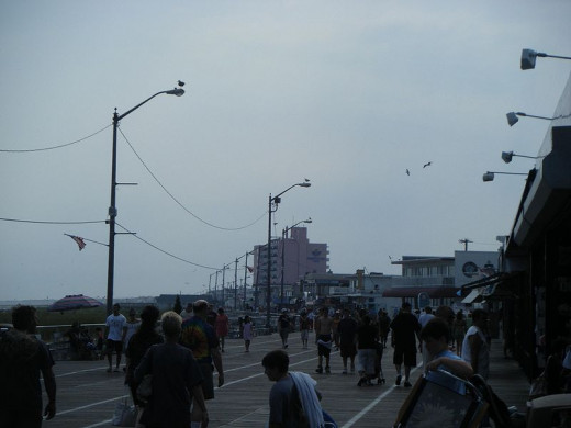 This is a view of the boardwalk at 12th Street in Ocean City, New Jersey.