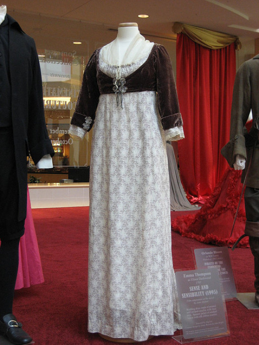 """Elinor Dashwood's dress in Ang Lee's film version of """"Sense and Sensibility;"""" an example of Regency style."""
