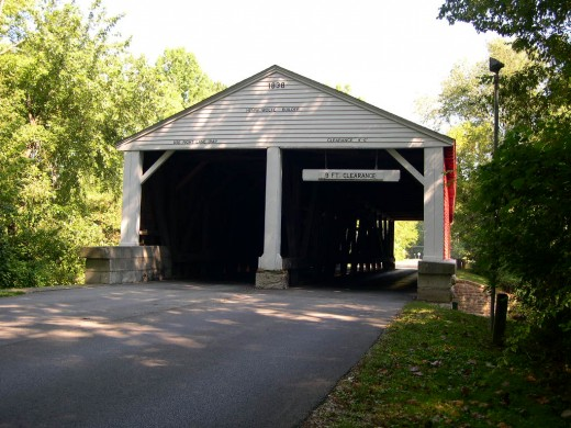The north entrance to Brown County State Park is a two lane covered bridge