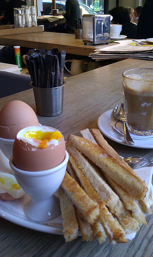 Soft boiled egg with toast strips to dip with
