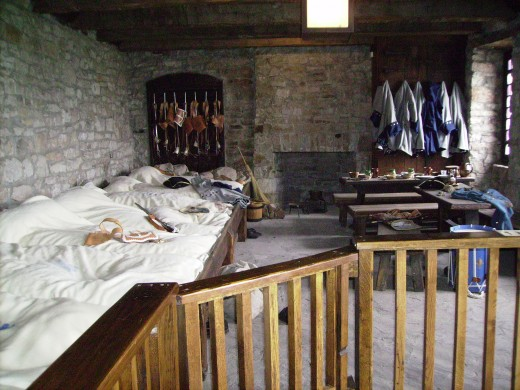 Old Ft. Niagara - sleeping quarters in the French castle for the enlisted soldiers in the French Army.