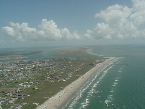 Aerial view of beautiful Port Aransas, Texas