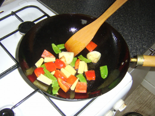 Starting to stir fry vegetables