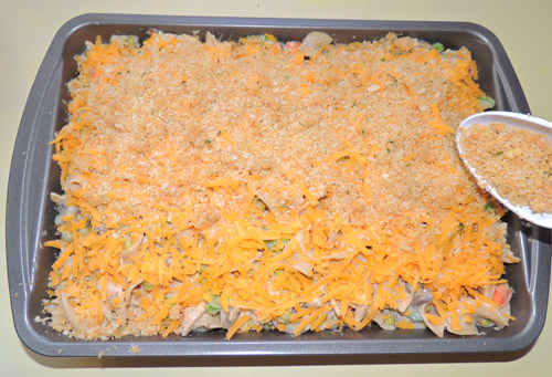 top- cheese shreds with breadcrumb mixture