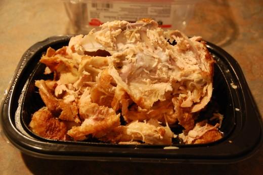 Decimated rotisserie chicken