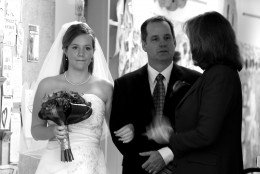 Bride and family preparing to walk the aisle