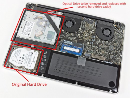 How to install second hard drive caddy on a Macbook pro