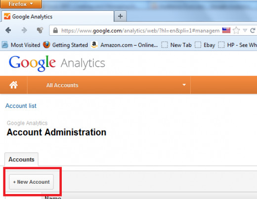 "Figure D: ""+New Account"" button on Google Analytics page"