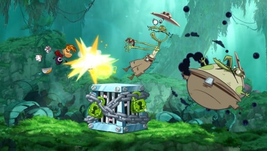 PAPOW! Rayman busts open a cage as well as breaks the jaws of multiple Electoon poachers!
