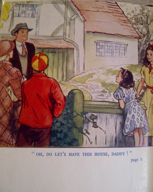 The colour image at the front of 'The Family at Red Roofs' captured my imagination! The book was first published by Lutterworth Press, London in 1945; illustrations including this one and black & white line drawings in my later copy were by W.Spence
