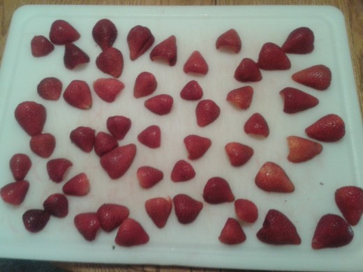 1 pound of strawberries--washed, hulled, and cut in half