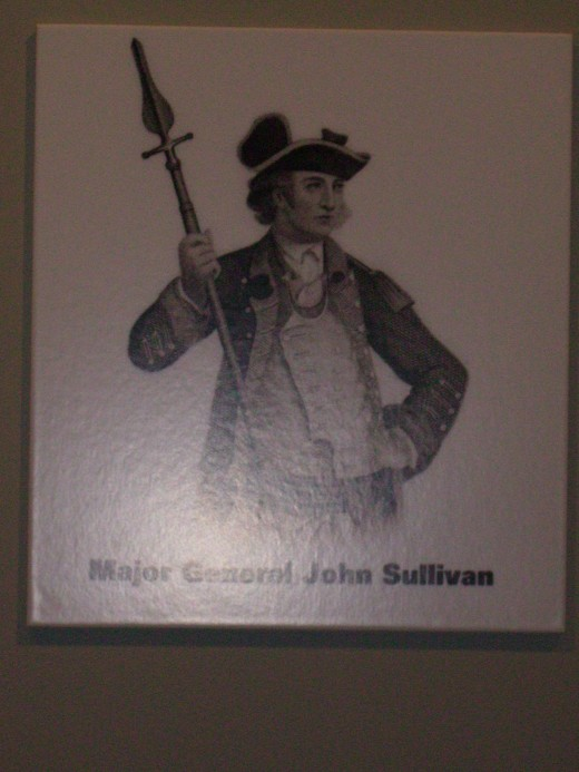 American Revolutionary War General John Sullivan who, with General Clinton, led a campaign up through the central and western New York frontier destroying Iroquois villages and food stores in an attempt to halt raids by Butler's Rangers.