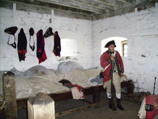 British Soldier in Barracks at Ft. Niagara on the American side of Niagara River.