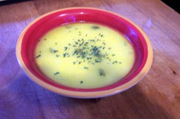 A little parsley sprinkled over the soup makes it look nice.