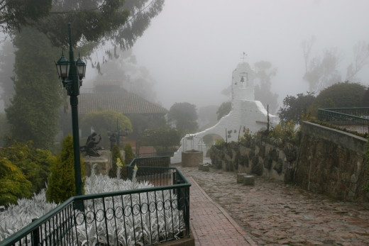 Typical fog descending on the church grounds CC BY-SA 3.0