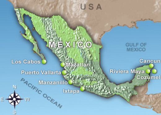 Map of the many beach destinations in Mexico.