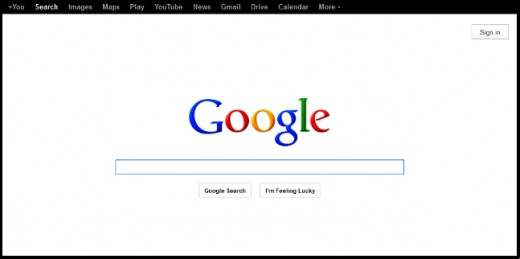 Screen capture of Google's clean homepage