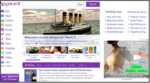 Screen capture of Yahoo's busy homepage