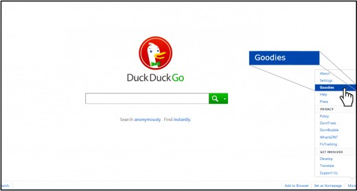 Photo edited screen capture of Duck Duck Go's homepage