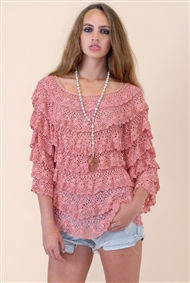 Multi tiered rose colored sheer long sleeve top for jeans or skirt, save 45%.
