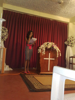 My sister giving the speech