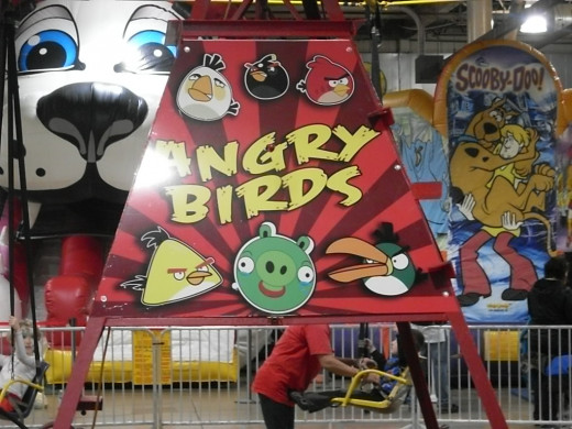 The popular swings ride with an Angry Birds theme