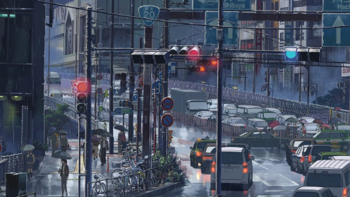 Although scenes of nature are more common in the film, the rainy city is also beautiful in its own way, and is incredibly detailed.