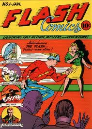 The Golden Age Flash makes his debut, complete with silly helmet.