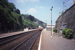 Dinant station in 1984, with a French Picasso motorized wagon, for the train service to Givet