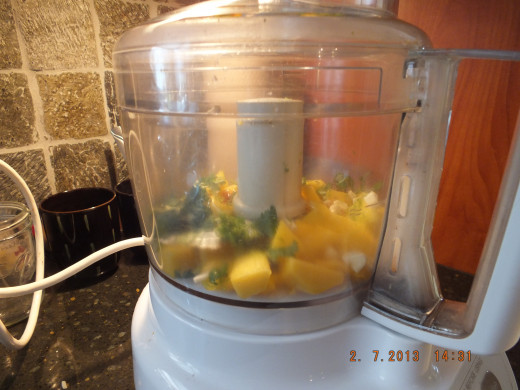 I put all those above ingredients in the food processor and gave it 6 quick pulses.