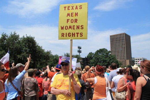 Men in Texas supporting women's rights
