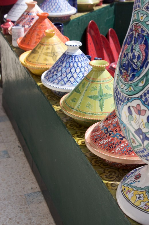 Colourful tagines in Tunisia