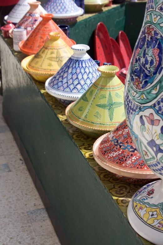Colourful tagines in Tunisia