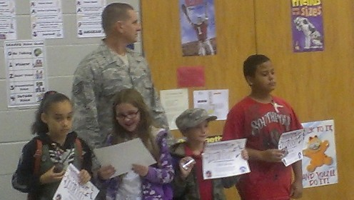 Each year we honor our soldiers and their families at a school-wide assembly.
