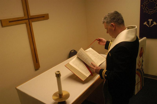 Notice this is a U.S. Navy Chaplain reading the Holy Bible.  Ironically, ship captains in centuries prior used the stars as a guide when crossing the large oceans of the Earth.