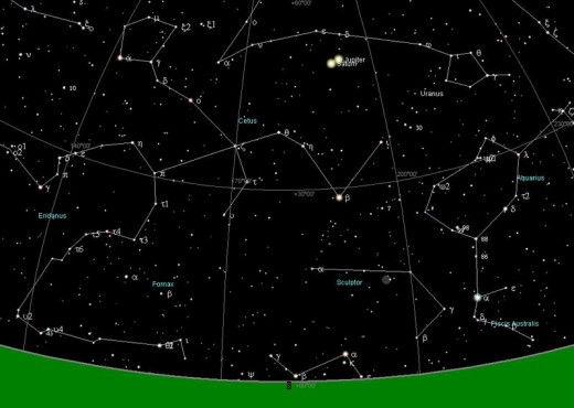 If this is an accurate chart of the night sky at the birth of Jesus in Bethlehem, you can see where the conjunction of the two planets of Jupiter and Saturn are the brightest light in the sky at that moment.