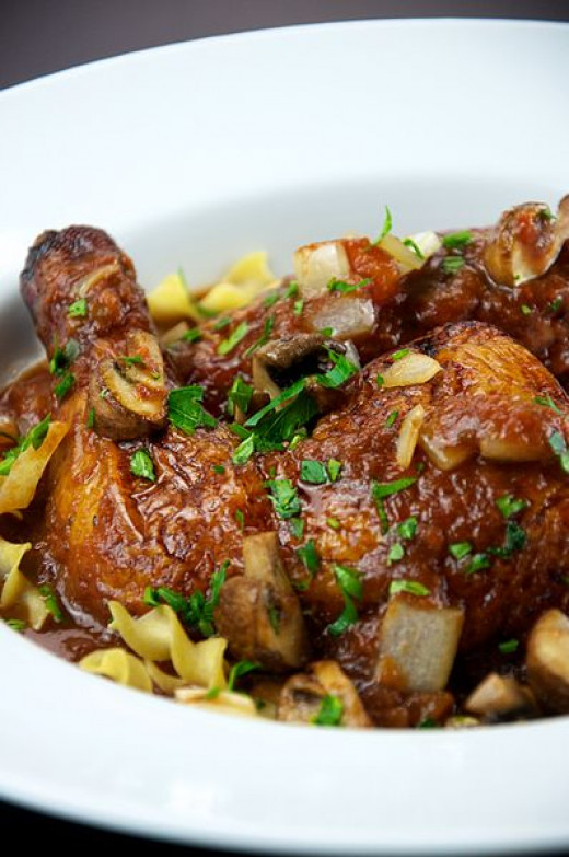 Here in this photo is delightfully delicious Chicken Cacciatore as it would be prepared hunter style in Italy.
