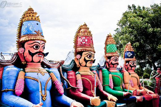 The Village Gods.  These kinds of statues are a common sight throughout Tamil Nadu.