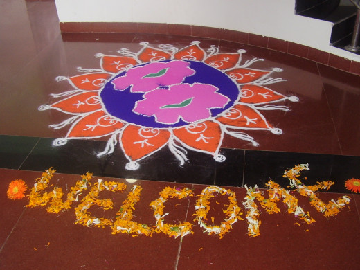 RANGOLIS drawn to Welcome guests